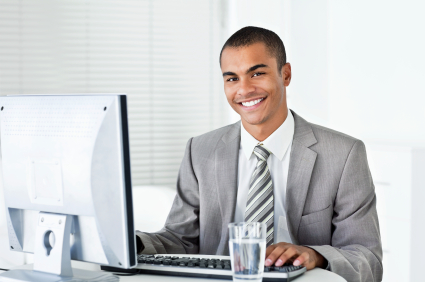 Businessman Working on His Computer